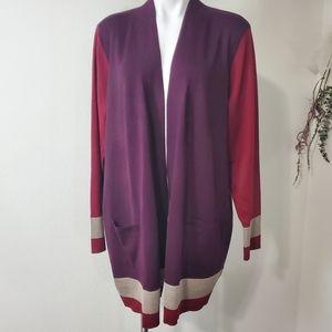 Retrology color block open sweater cardigan